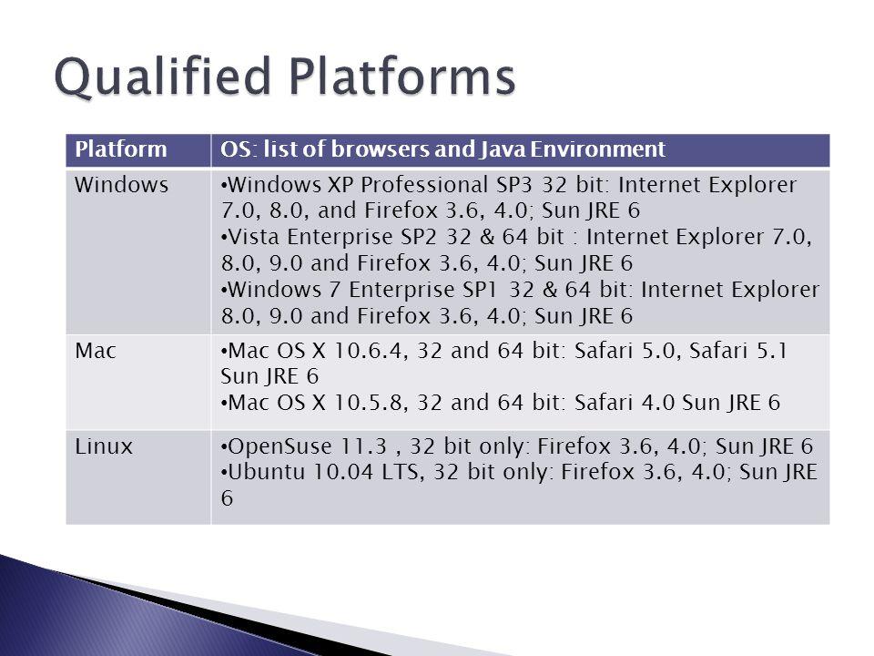 PlatformOS: list of browsers and Java Environment Windows Windows XP Professional SP3 32 bit: Internet Explorer 7.0, 8.0, and Firefox 3.6, 4.0; Sun JRE 6 Vista Enterprise SP2 32 & 64 bit : Internet Explorer 7.0, 8.0, 9.0 and Firefox 3.6, 4.0; Sun JRE 6 Windows 7 Enterprise SP1 32 & 64 bit: Internet Explorer 8.0, 9.0 and Firefox 3.6, 4.0; Sun JRE 6 Mac Mac OS X 10.6.4, 32 and 64 bit: Safari 5.0, Safari 5.1 Sun JRE 6 Mac OS X 10.5.8, 32 and 64 bit: Safari 4.0 Sun JRE 6 Linux OpenSuse 11.3, 32 bit only: Firefox 3.6, 4.0; Sun JRE 6 Ubuntu 10.04 LTS, 32 bit only: Firefox 3.6, 4.0; Sun JRE 6