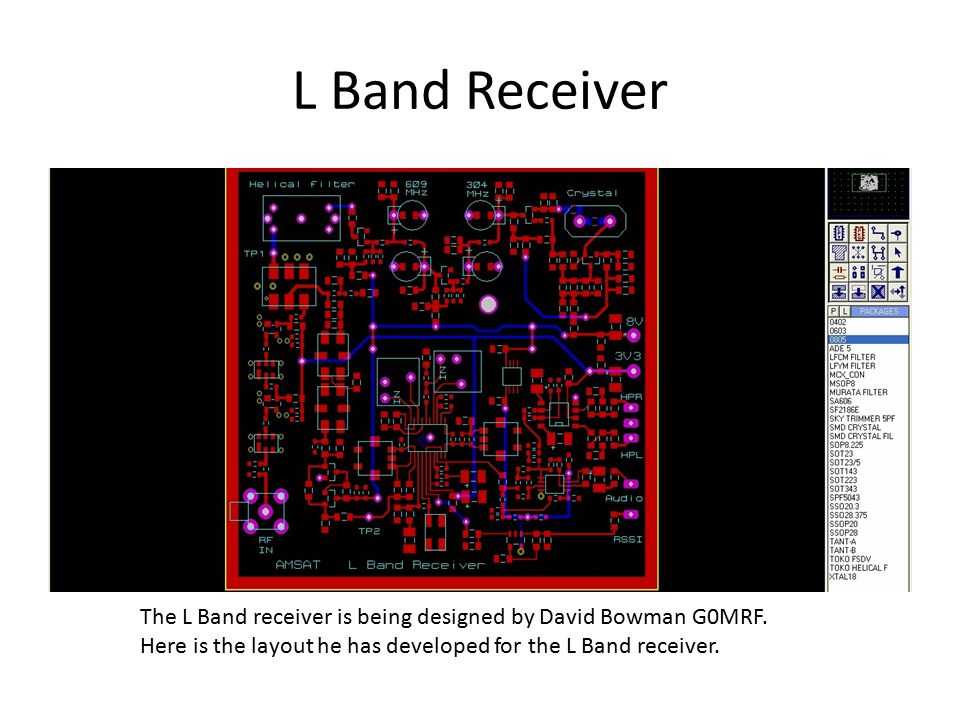 L Band Receiver The L Band receiver is being designed by David Bowman G0MRF. Here is the layout he has developed for the L Band receiver.
