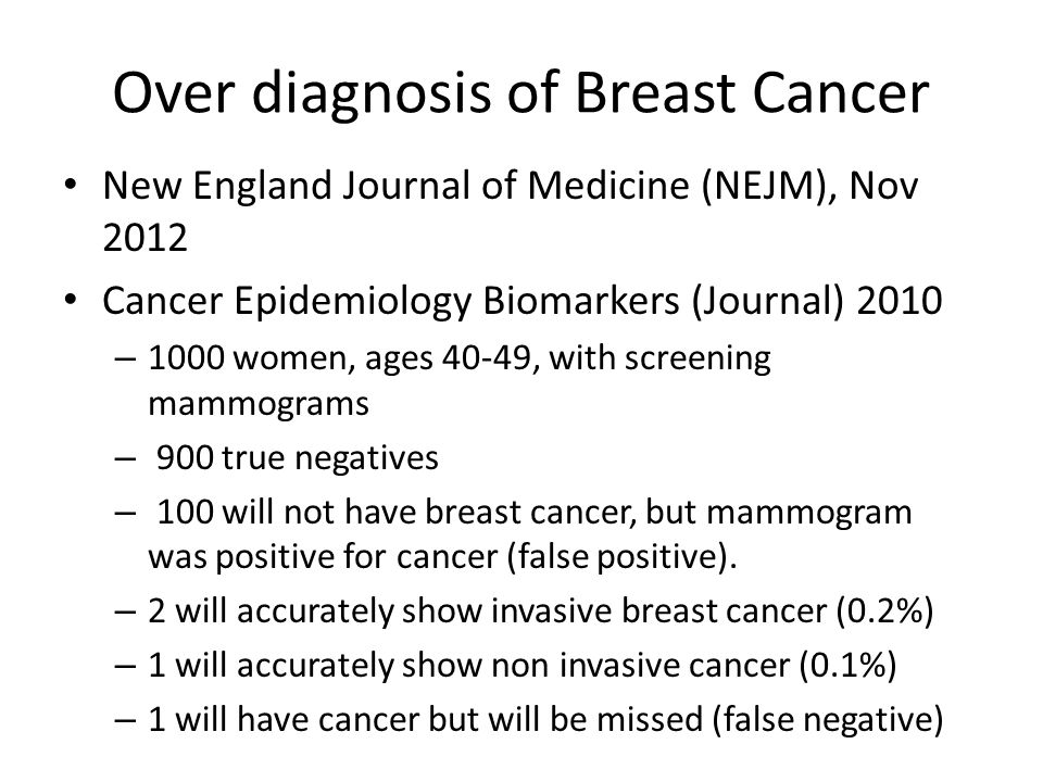Over diagnosis of Breast Cancer New England Journal of Medicine (NEJM), Nov 2012 Cancer Epidemiology Biomarkers (Journal) 2010 – 1000 women, ages 40-4