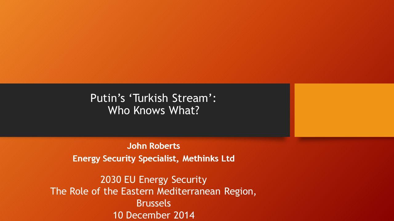 Putin's 'Turkish Stream': Who Knows What.