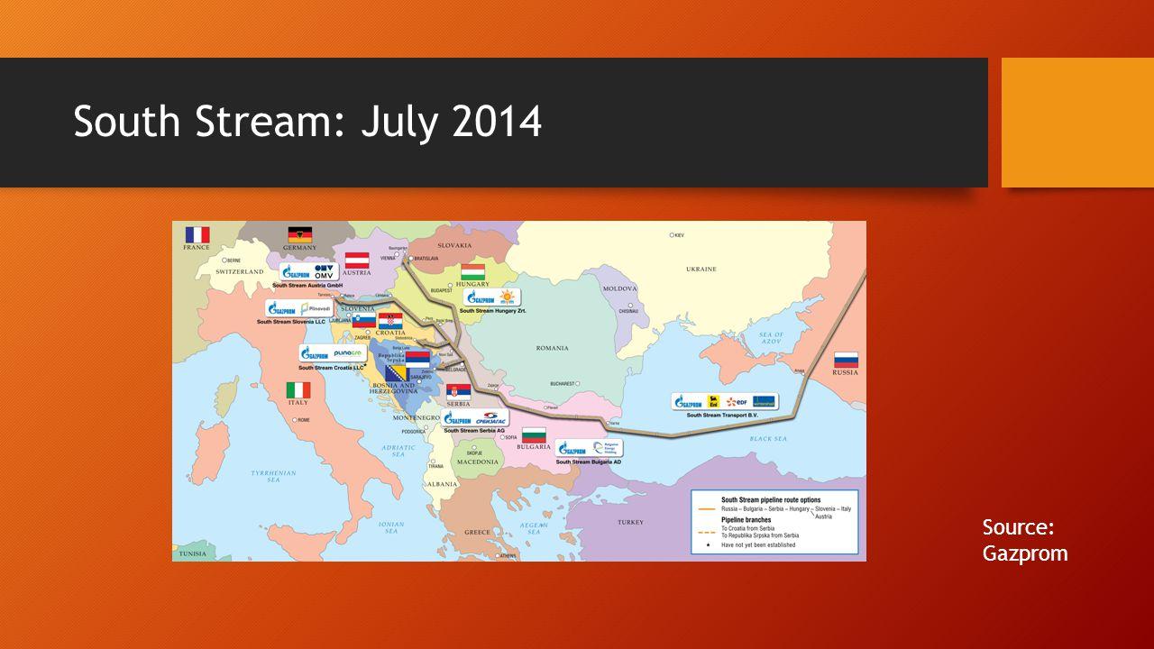 South Stream: July 2014 Source: Gazprom