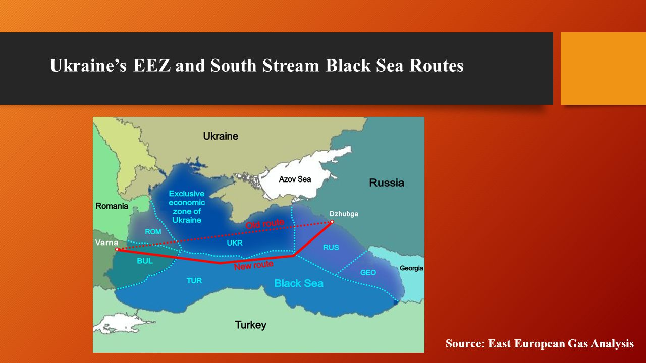 Ukraine's EEZ and South Stream Black Sea Routes Source: East European Gas Analysis