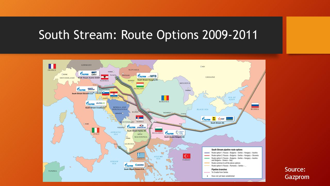 South Stream: Route Options 2009-2011 Source: Gazprom