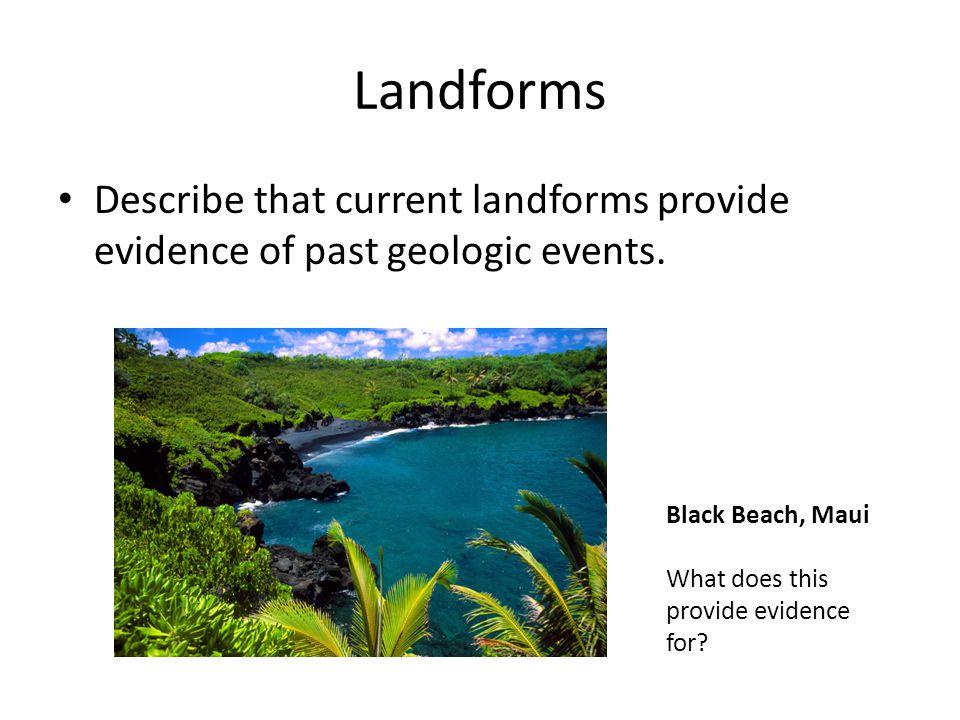 Landforms Describe that current landforms provide evidence of past geologic events.