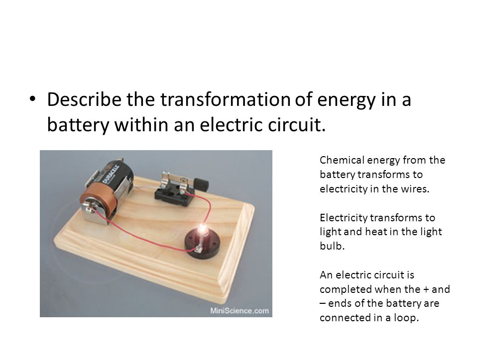 Describe the transformation of energy in a battery within an electric circuit.