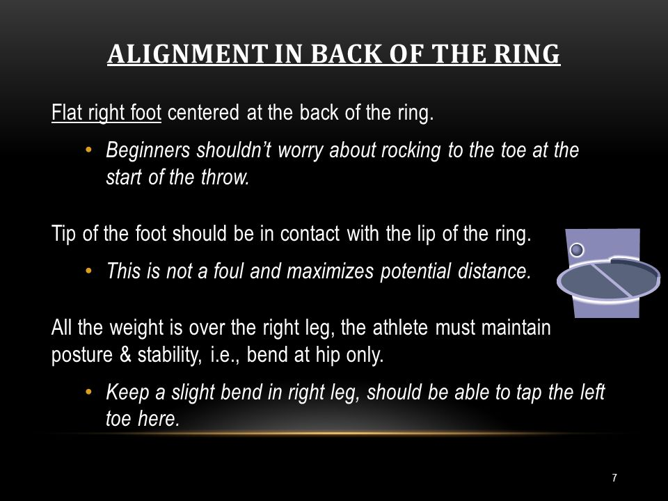 ALIGNMENT IN BACK OF THE RING 7 Flat right foot centered at the back of the ring.