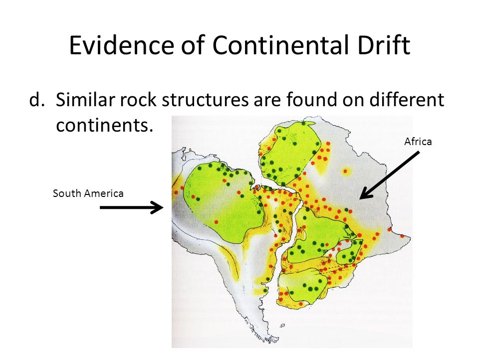 Evidence of Continental Drift d.Similar rock structures are found on different continents. South America Africa