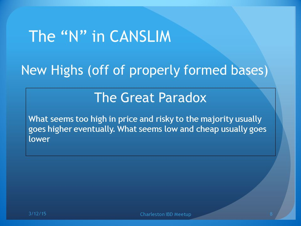 "The ""N"" in CANSLIM New Highs (off of properly formed bases) The Great Paradox What seems too high in price and risky to the majority usually goes high"