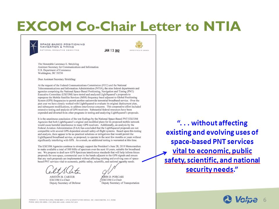 6 EXCOM Co-Chair Letter to NTIA ...