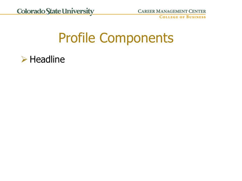 Profile Components  Headline