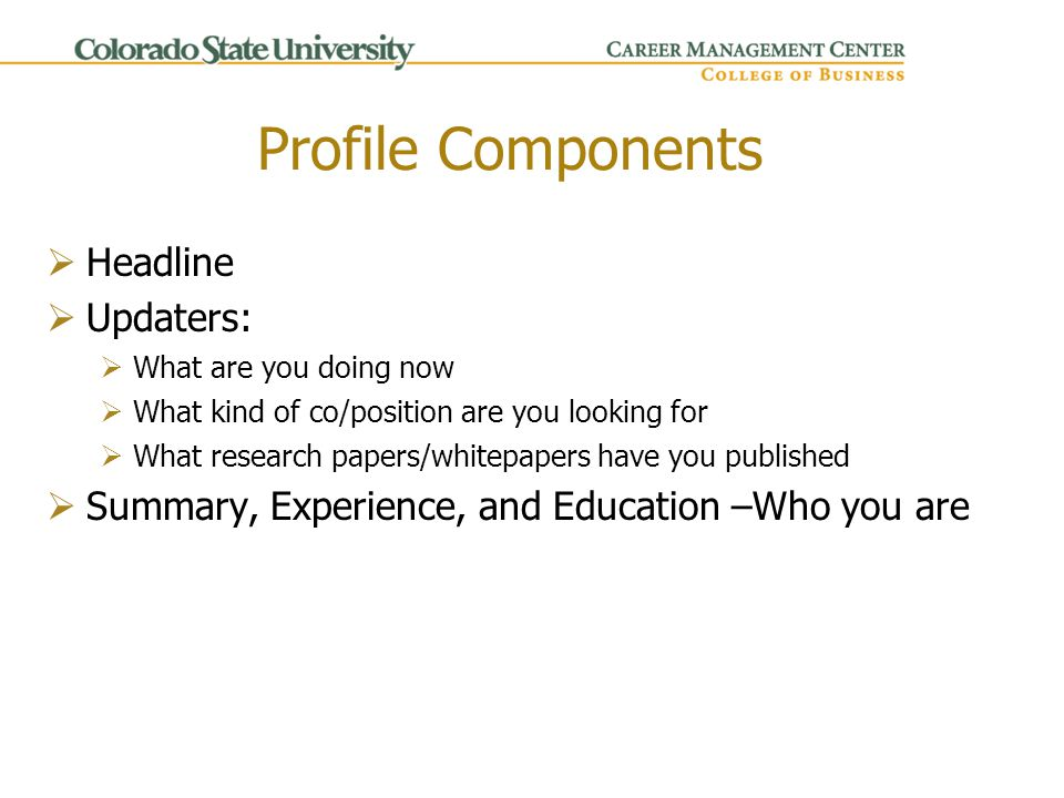 Profile Components  Headline  Updaters:  What are you doing now  What kind of co/position are you looking for  What research papers/whitepapers have you published  Summary, Experience, and Education –Who you are