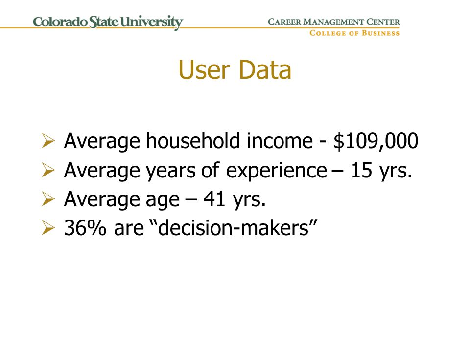User Data  Average household income - $109,000  Average years of experience – 15 yrs.