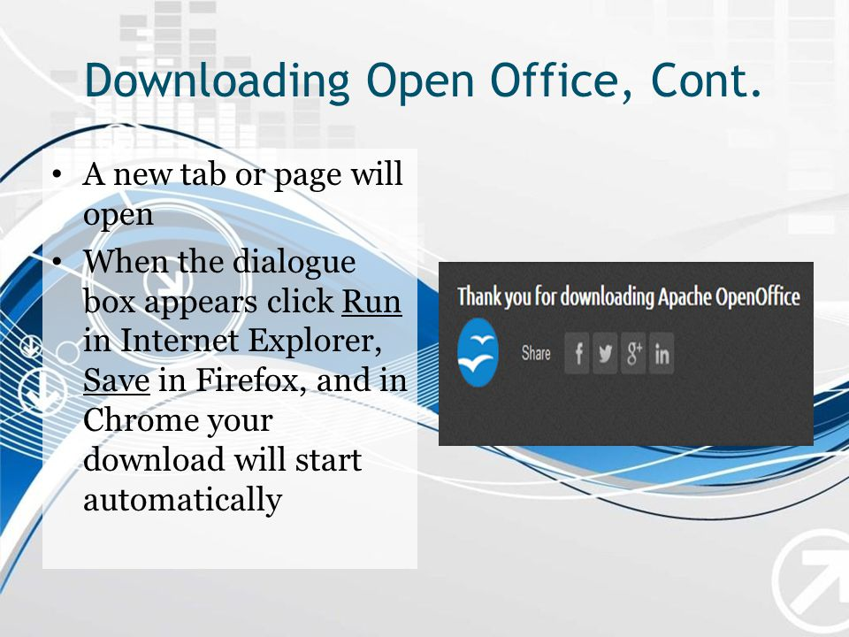 Downloading Open Office, Cont.