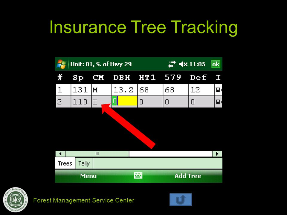 Forest Management Service Center Insurance Tree Tracking