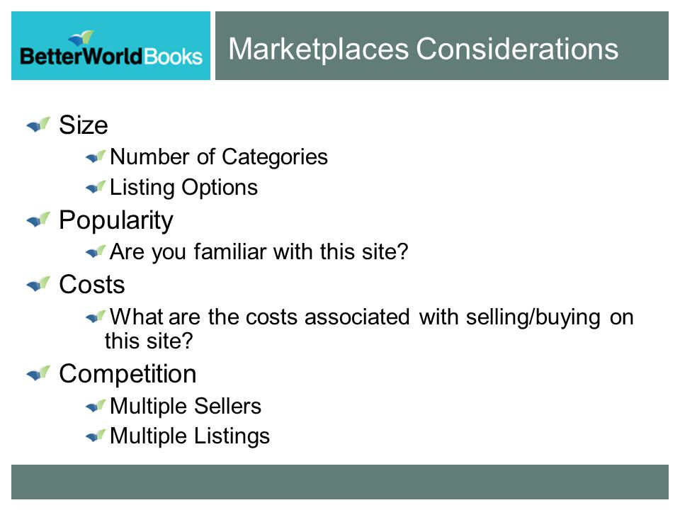 Marketplaces Considerations Search Features It is easy to find items.