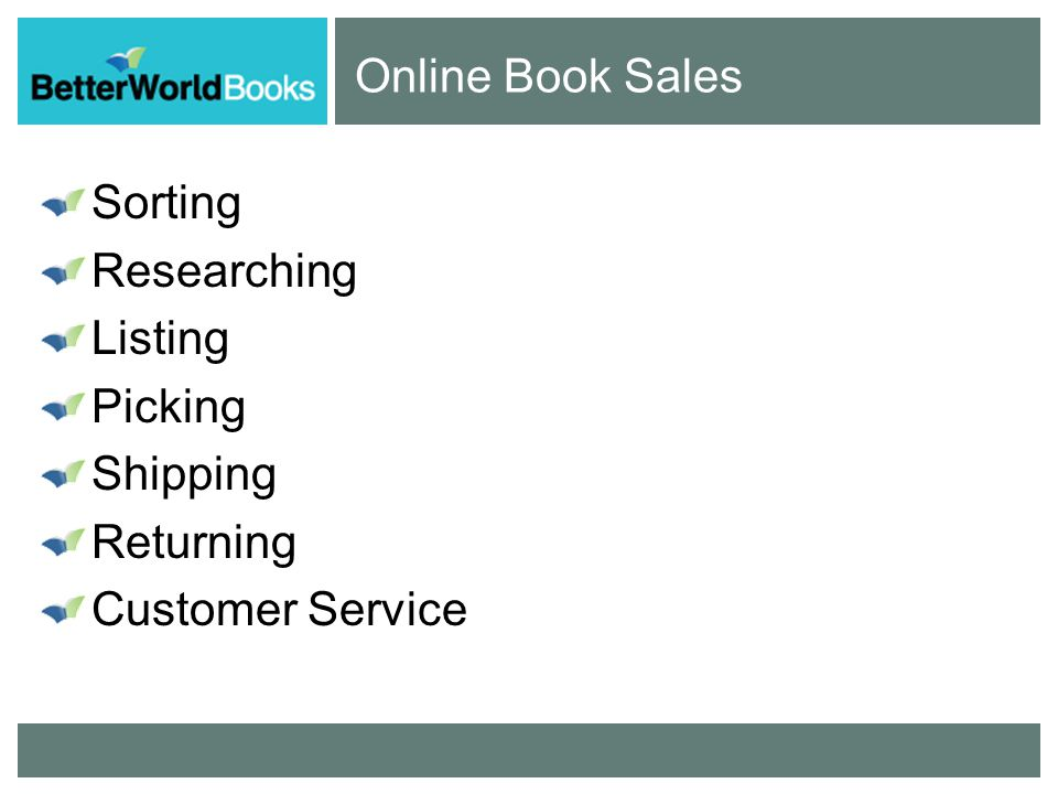 Online Book Sales Sorting Researching Listing Picking Shipping Returning Customer Service