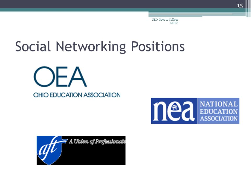 Social Networking Positions NEO Goes to College NOW! 15
