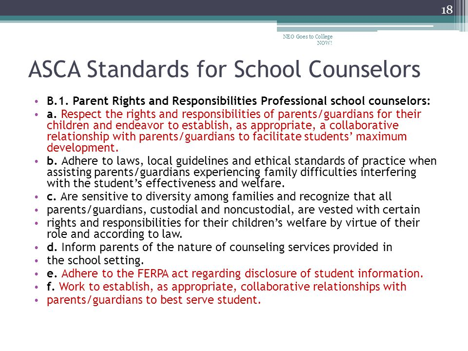 ASCA Standards for School Counselors B.1.
