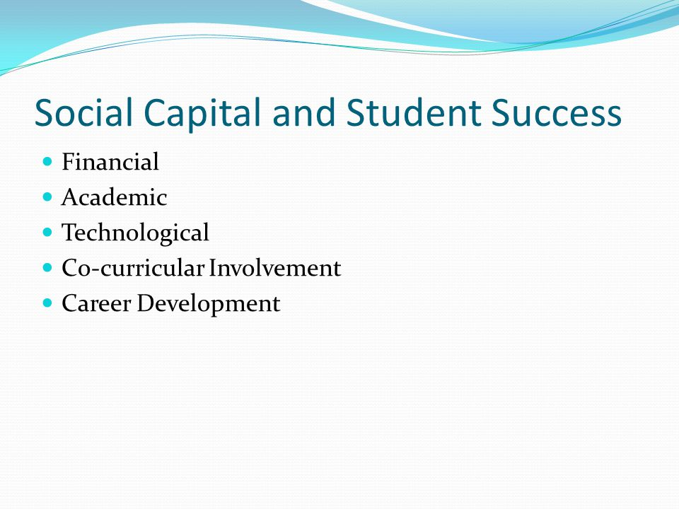 Social Capital and Student Success Financial Academic Technological Co-curricular Involvement Career Development