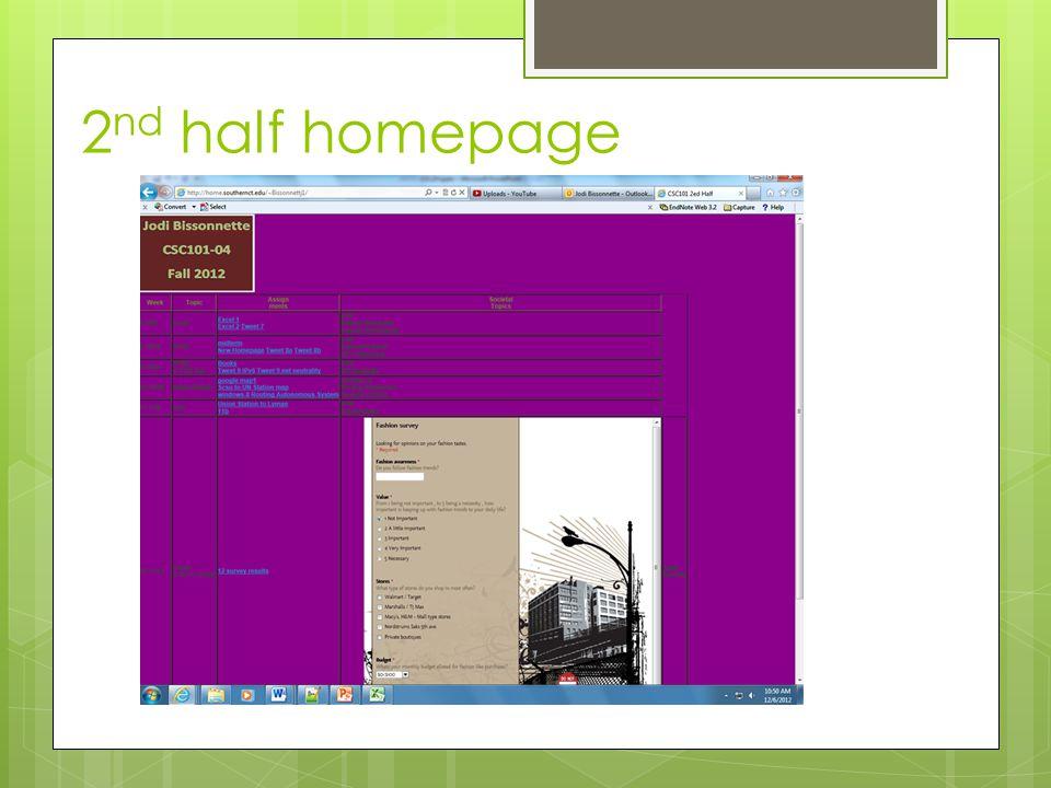 2 nd half homepage