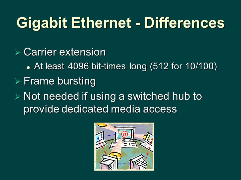 Gigabit Ethernet - Differences  Carrier extension At least 4096 bit-times long (512 for 10/100) At least 4096 bit-times long (512 for 10/100)  Frame bursting  Not needed if using a switched hub to provide dedicated media access