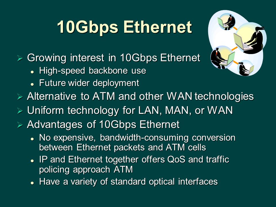 10Gbps Ethernet  Growing interest in 10Gbps Ethernet High-speed backbone use High-speed backbone use Future wider deployment Future wider deployment  Alternative to ATM and other WAN technologies  Uniform technology for LAN, MAN, or WAN  Advantages of 10Gbps Ethernet No expensive, bandwidth-consuming conversion between Ethernet packets and ATM cells No expensive, bandwidth-consuming conversion between Ethernet packets and ATM cells IP and Ethernet together offers QoS and traffic policing approach ATM IP and Ethernet together offers QoS and traffic policing approach ATM Have a variety of standard optical interfaces Have a variety of standard optical interfaces