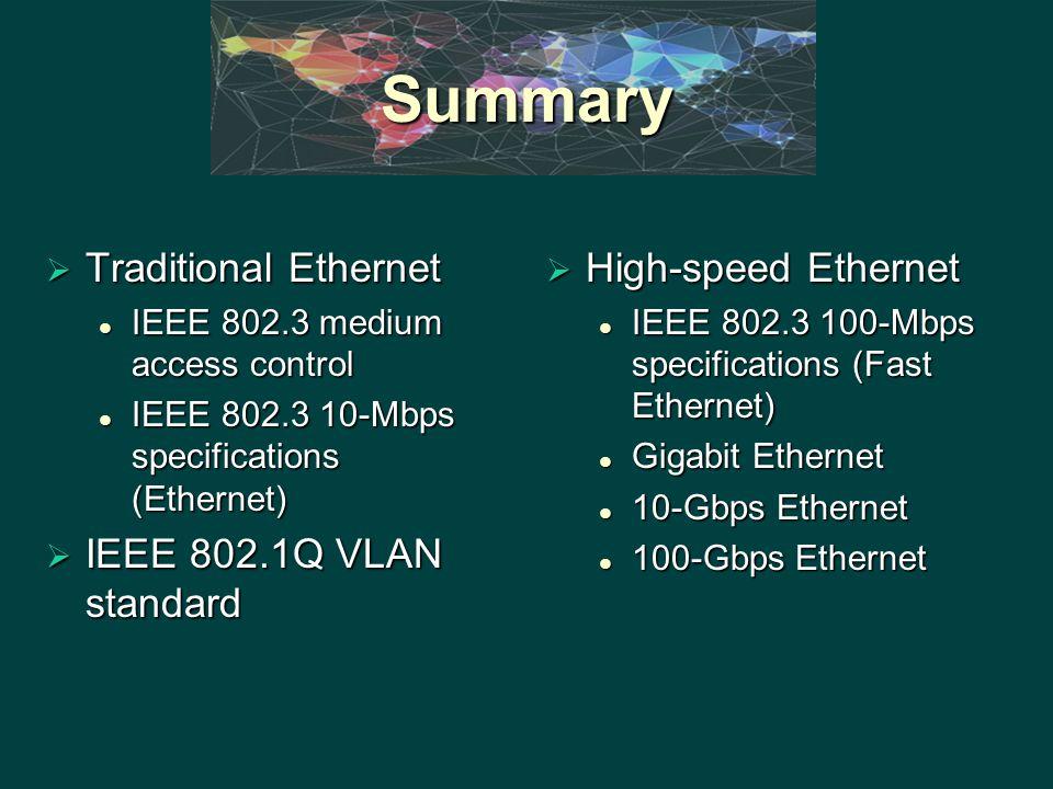 Summary  Traditional Ethernet IEEE 802.3 medium access control IEEE 802.3 medium access control IEEE 802.3 10-Mbps specifications (Ethernet) IEEE 802.3 10-Mbps specifications (Ethernet)  IEEE 802.1Q VLAN standard  High-speed Ethernet IEEE 802.3 100-Mbps specifications (Fast Ethernet) Gigabit Ethernet 10-Gbps Ethernet 100-Gbps Ethernet