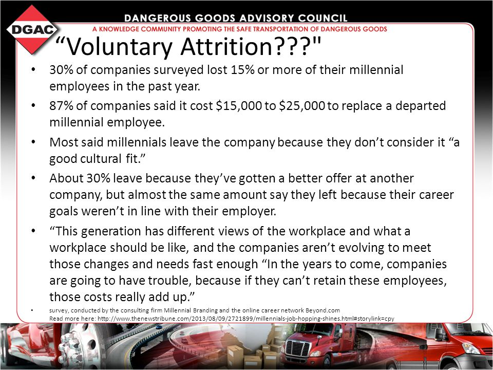 Voluntary Attrition 30% of companies surveyed lost 15% or more of their millennial employees in the past year.