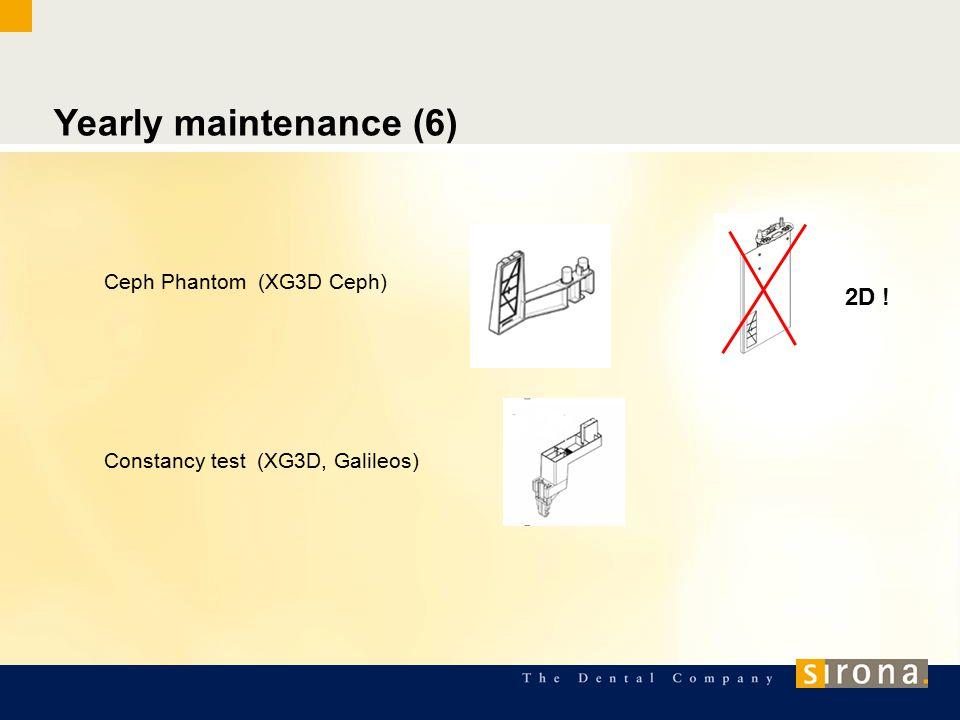 Yearly maintenance (6) Ceph Phantom (XG3D Ceph) Constancy test (XG3D, Galileos) 2D !