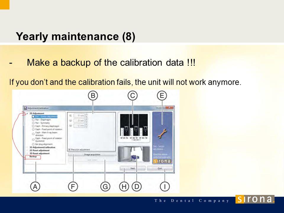 Yearly maintenance (8) -Make a backup of the calibration data !!.