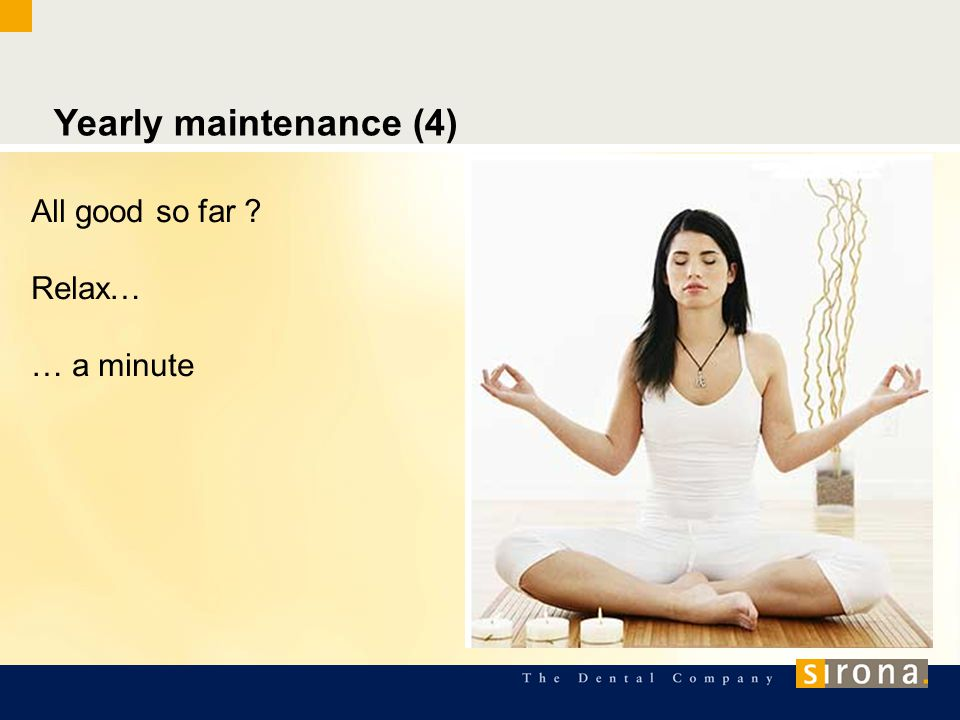 Yearly maintenance (4) All good so far ? Relax… … a minute