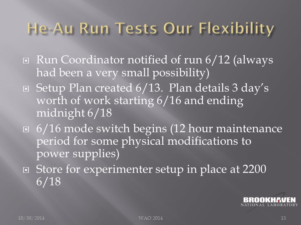  Run Coordinator notified of run 6/12 (always had been a very small possibility)  Setup Plan created 6/13.