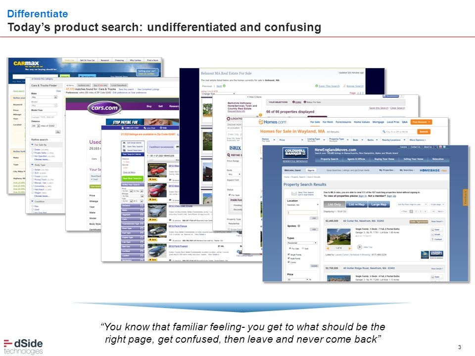 "3 Differentiate Today's product search: undifferentiated and confusing ""You know that familiar feeling- you get to what should be the right page, get"