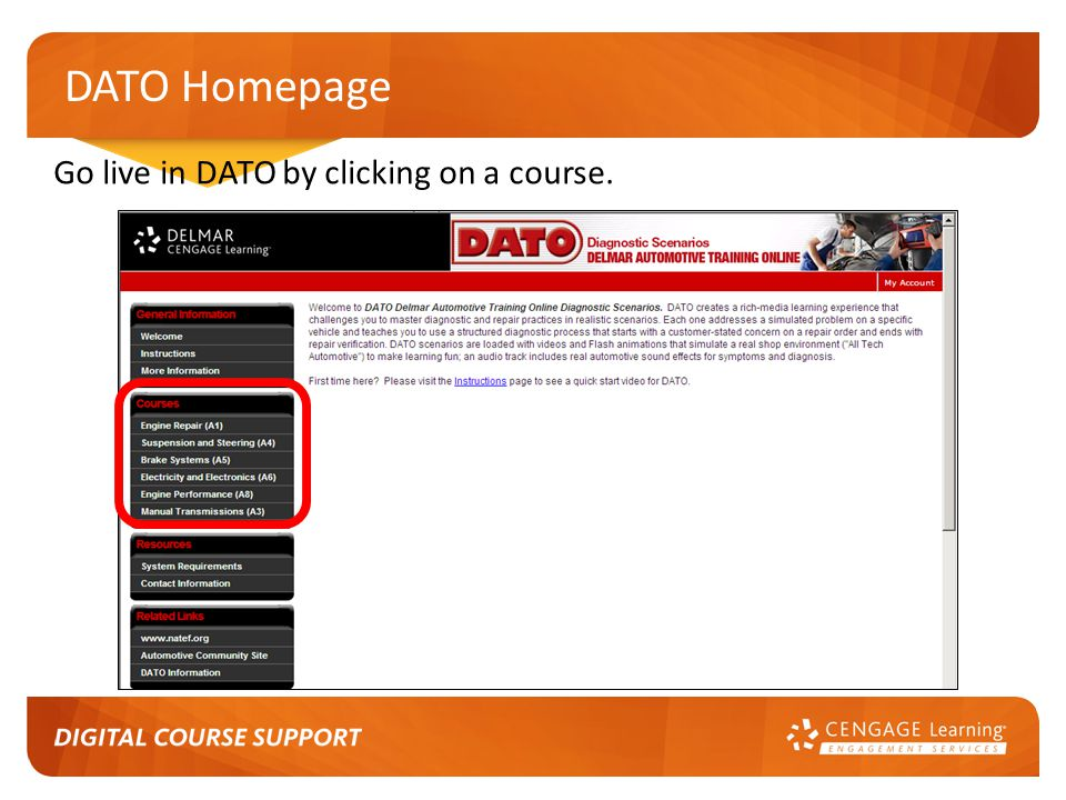 DATO Homepage Go live in DATO by clicking on a course.