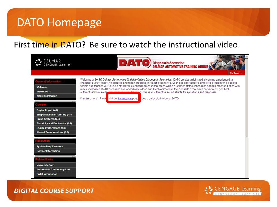 DATO Homepage First time in DATO Be sure to watch the instructional video.