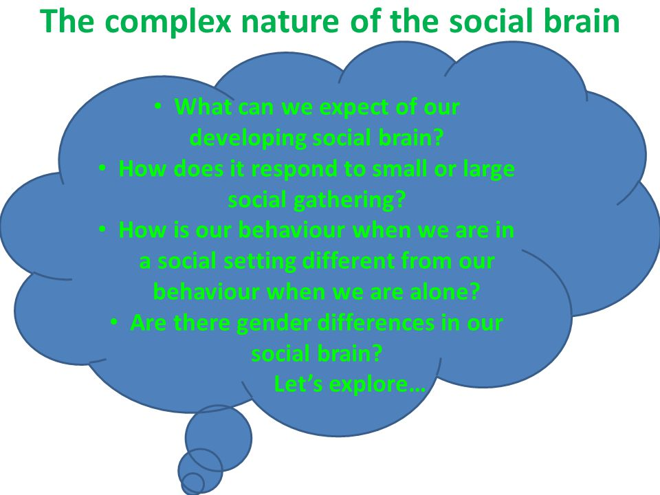 The complex nature of the social brain What can we expect of our developing social brain.