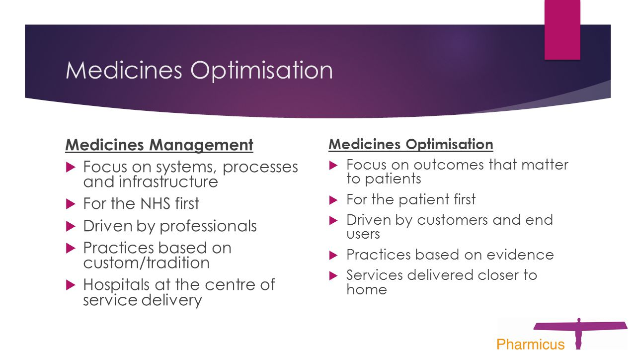 Medicines Optimisation Medicines Management  Focus on systems, processes and infrastructure  For the NHS first  Driven by professionals  Practices