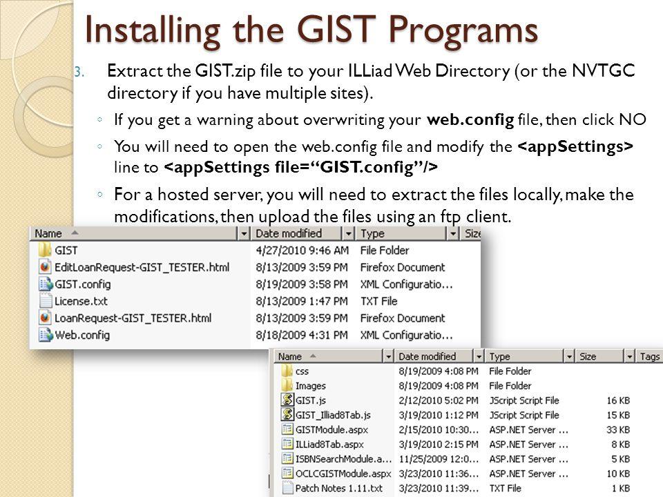 Installing the GIST Programs 3.