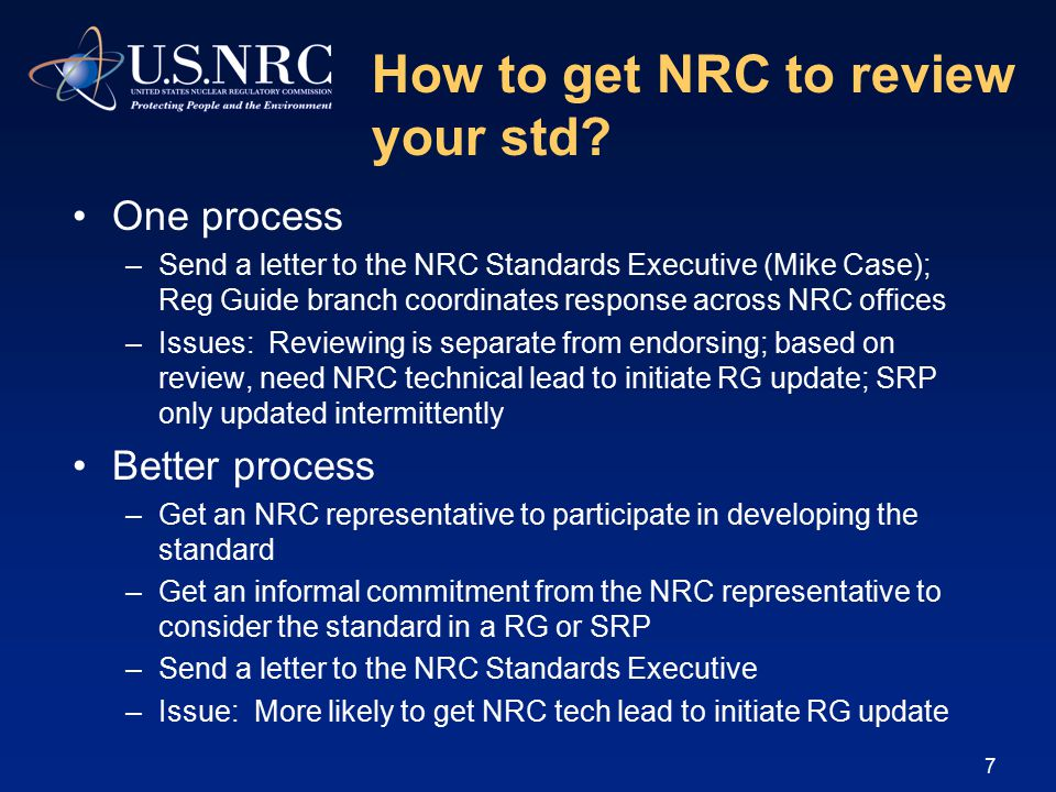 How to get NRC to review your std.
