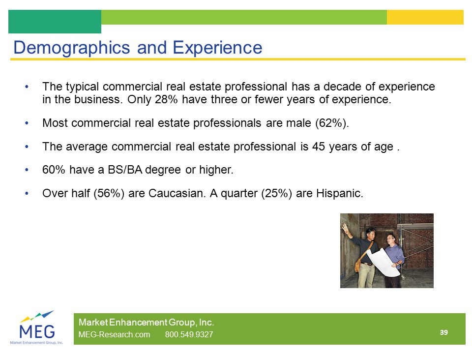 39 Demographics and Experience The typical commercial real estate professional has a decade of experience in the business.