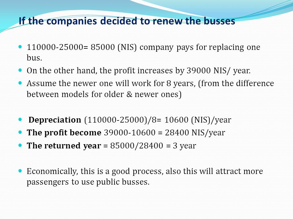If the companies decided to renew the busses 110000-25000= 85000 (NIS) company pays for replacing one bus. On the other hand, the profit increases by