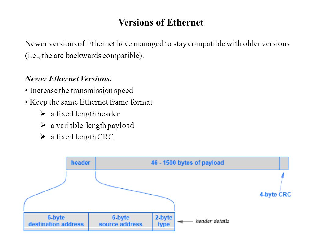 Versions of Ethernet Newer versions of Ethernet have managed to stay compatible with older versions (i.e., the are backwards compatible).