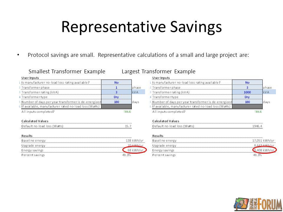 Representative Savings Protocol savings are small.