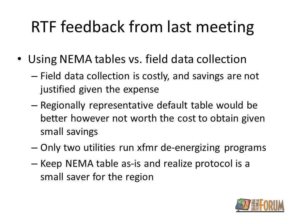 RTF feedback from last meeting Using NEMA tables vs.