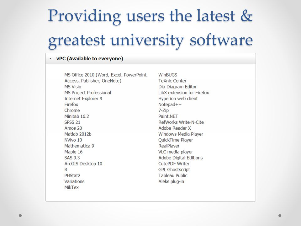 Providing users the latest & greatest university software