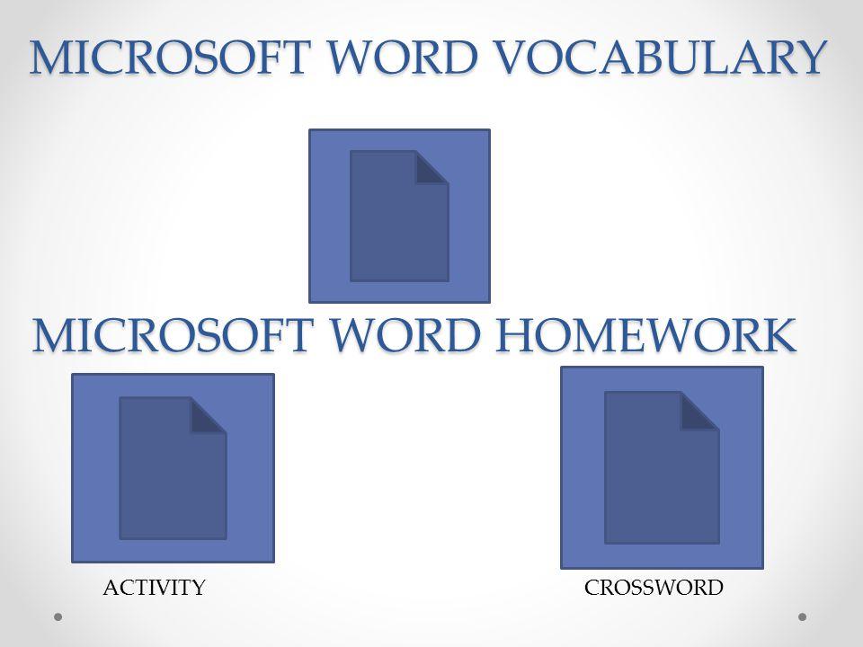 MICROSOFT WORD VOCABULARY MICROSOFT WORD HOMEWORK CROSSWORDACTIVITY