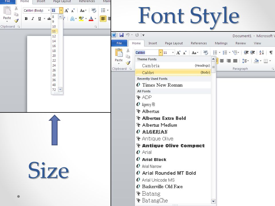 Size Font Style