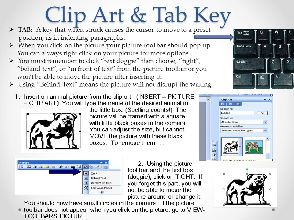 Clip Art & Tab Key  TAB: A key that when struck causes the cursor to move to a preset position, as in indenting paragraphs.