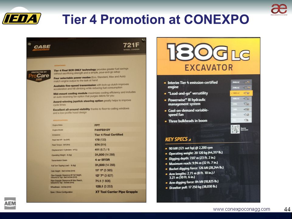 44 www.conexpoconagg.com Tier 4 Promotion at CONEXPO