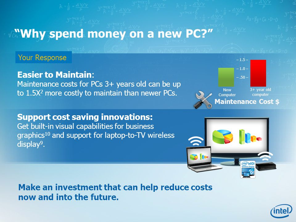 Your Response Easier to Maintain: Maintenance costs for PCs 3+ years old can be up to 1.5X 2 more costly to maintain than newer PCs. Support cost savi